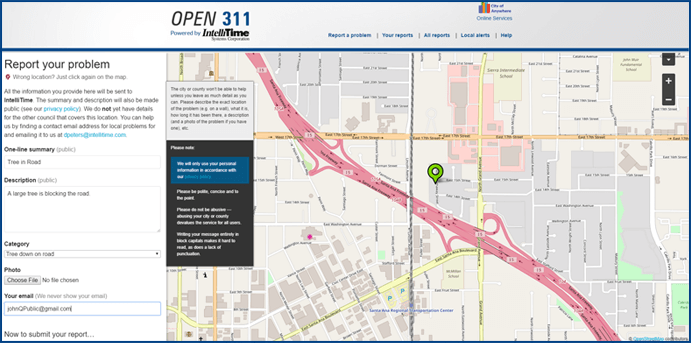 Open 311i Service Request Maps