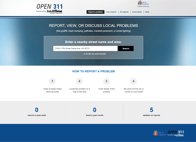Open 311i Service Request Tracking